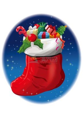 创意卡通圣诞节装满礼物的圣诞鞋素材