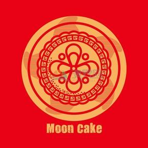 月饼红色背景素材