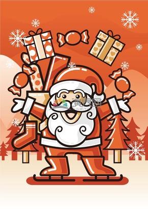 送禮物的圣誕老人矢量素材
