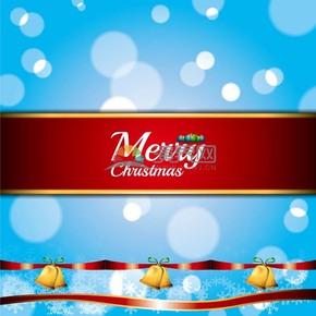 圣诞节艺术字铃铛蓝色圆点背景