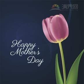 创意简单设计赞扬歌颂母亲母亲节卡通画文字粉色郁金香宣传海报
