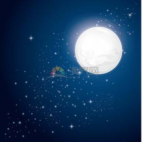 冬天夜晚渐变月亮银河星河