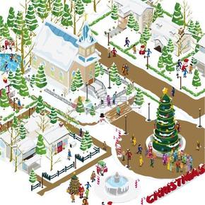 创意2.5D圣诞节社区人们欢庆精美插画素材