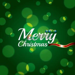 圣诞节英文艺术字绿色背景素材