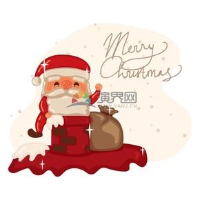 手繪風圣誕節圣誕老人插圖