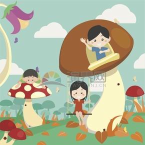 趣味活泼简约清新小朋友欢度六一儿童节游乐园玩游戏卡通图