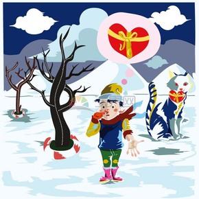 冬天雪地旅行家爱的告白