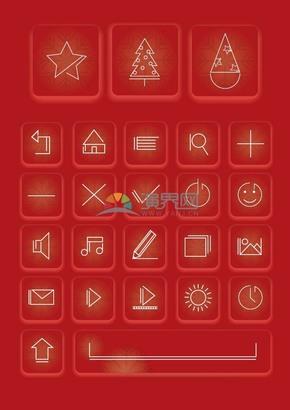 红色背景长方形圣诞图标