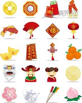 喜庆春节过大年拜年祝福卡通图合集