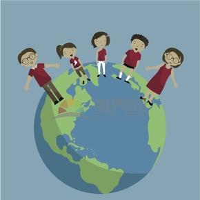 趣味活泼简约清新小朋友欢度国际六一儿童节卡通图
