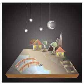 折纸风夜晚安静村镇建筑