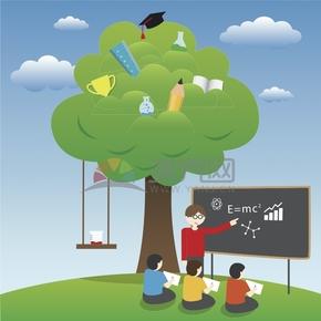 趣味活潑簡約清新老師學生學習物理課堂歌頌贊美老師慶祝教師節卡通圖