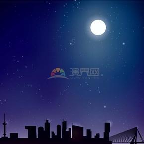 卡通中秋节夜景插画