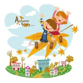 秋天童话整男孩女孩坐着落叶旅游