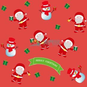 红色背景圣诞老人矢量素材