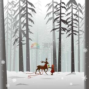 冬天雪地圣诞鹿小孩与鹿风景背景