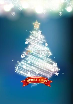 圣诞节圣诞元素闪光线条抽象圣诞树