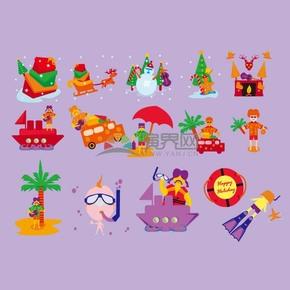 紫色背景圣诞矢量素材