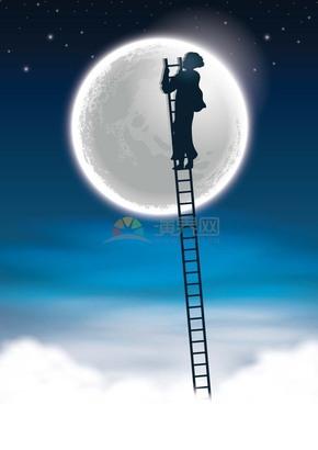 卡通创意中秋节月亮人物爬楼梯插画