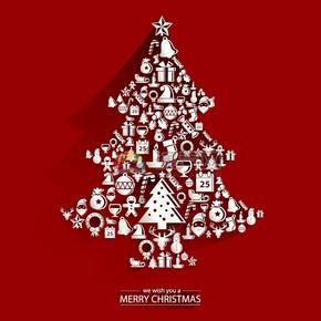 圣诞节圣诞元素圣诞树组合抽象艺术元素