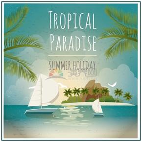夏天夏日海边沙滩帆船和海鸥风景插画