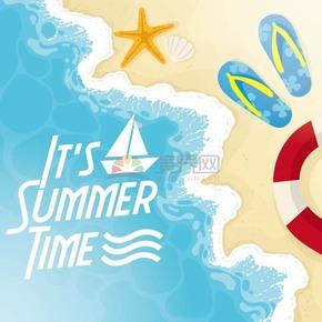 夏日海边沙滩拖鞋海星游泳圈背景