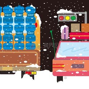 运输行李和饮用水冬季图标矢量素材