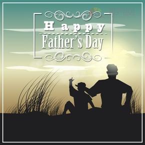 创意简单清新歌颂赞扬父亲父亲节亲子时光卡通图宣传海报