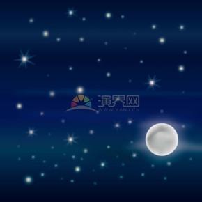 卡通中秋节朦胧夜空月亮插画