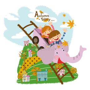 秋天秋日动物园男孩女孩骑着大象玩游戏