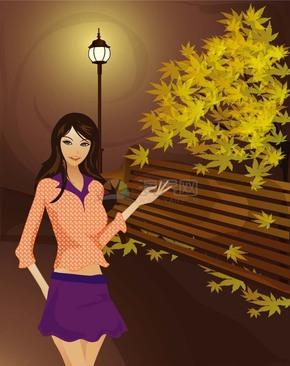 秋季夜晚公园枫树座椅边散步美女插画