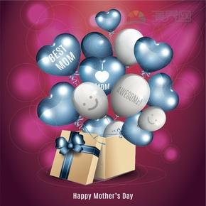 气球母亲节快乐背景图设计