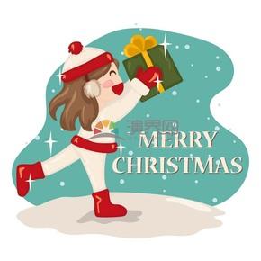 手繪風圣誕節女孩手捧禮物插圖素材