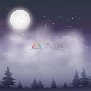 卡通紫色中秋节夜景插画