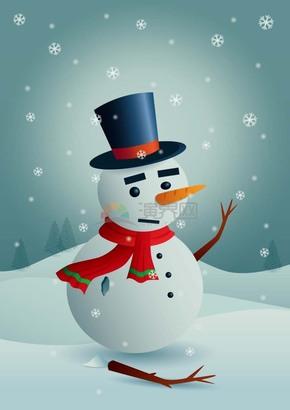 圣诞节圣诞雪地里的孤独雪人