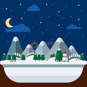 冬天山脉雪人风景插画