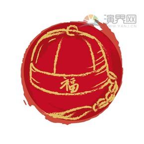 红色喜庆春节过大年拜年祝福小孩子新年帽卡通图