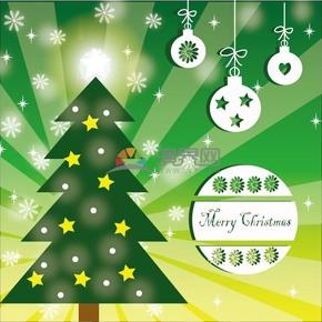 创意圣诞节圣诞树卡片插图装饰素材