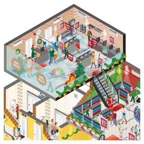 創意2.5D圣誕節商場精美插畫素材