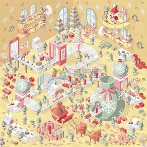 创意2.5D圣诞节商场精美插画素材