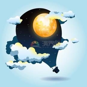 卡通创意中秋节热气球月亮插画素材