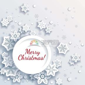 白色卡通圣诞节立体风雪花素材