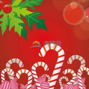 酒红色背景糖果圣诞矢量素材