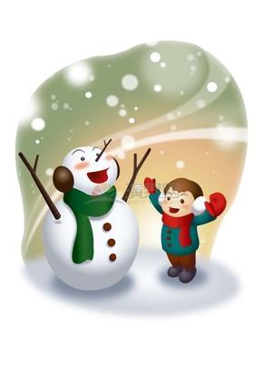 冬天冬日小女孩雪地堆雪人