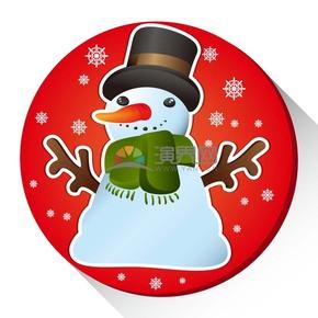 創意圣誕節雪人插圖素材