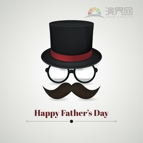 创意简单清新歌颂赞扬父亲父亲节卡通图宣传海报