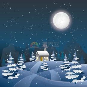 卡通唯美冬季夜晚下雪村庄小屋插画