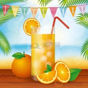 卡通精美实物风夏季海边饮料橙汁橙子插画