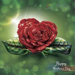 雨中的玫瑰花母亲节快乐背景设计