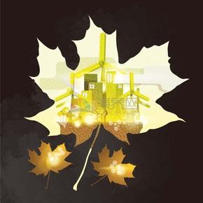 创意秋季剪影风枫叶建筑风力发电机精美素材